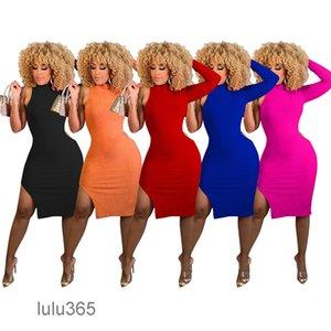 Autumn Women dress Ladies Solid Sheath One-Shoulder Bodycon High Slit Knit high Neck Casual Short Dresses 5 colors lulu365