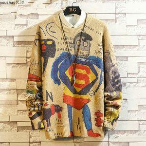 2021 Nueva impresión de dibujos animados camisas de punto para hombre suéter camisa casual de Youzhao Otoño y Wintersvlg