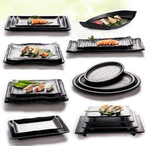 Блюда тарелки Япония стиль черный меламиновая тарелка блюдо для суши говядина стейк приправа горшок магазин буфета барбекю кухня пользуется 1 шт.