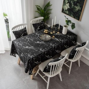 Table Cloth Black And White Marble Printed Cotton Linen Tablecloth Coffee Cover Towel Sofa + Two 45 * Size Pillowcases
