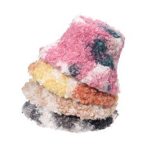 Winter Fishing Cap Panama Bob Gorros Outdoor Warm Lamb Faux Fur Tie Dye Fluffy Bucket Hat For Women 2021 Gorras