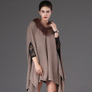 Winter Women Thick Poncho Scarf Shawl Fashion Plus Size Loose Batwing Sweater Femme Fausse Fourrure Manteau Mujer Chal