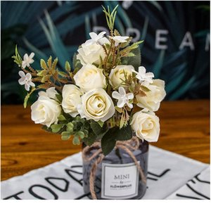 1 Bouquet 10 Head Artificial Silk Cloth Fake Flowers Leaf Peony Floral Home Wedding Party Home Decor Blue Tea Rose Small jllFmG