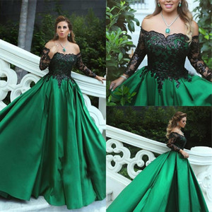 Black Green Evening Dresses 2021 Lace Long Sleeves Elegant Off the Shoulder Custom Made Satin Floor Length Plus Size Prom Party Gown Vestido