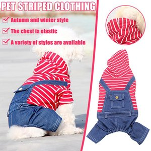 Small Dogs Puppy CoatPet Clothes Classic Stripe Jeans Dog Four Legged Elastic One Piece Fat Dog Warm Windproof Thicken Coat
