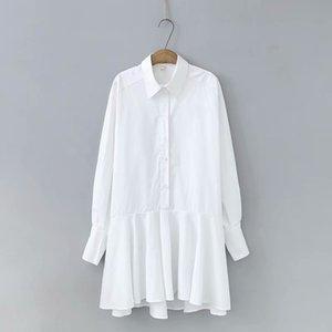 Frauen Mode Solid Schwarz Weiß Farbe Lässige Trompete Kleid Dame Unregelmäßige Saum Rüschen Vestidos Chic Business Shirtdressen DS3531 210303