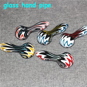 Wholesales 4 Inch Glass Pipes Smoking Hookah Tobacco Spoon Colored Mini Small Hand Pipe For Oil Burner Dab