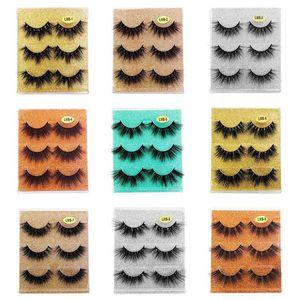 Wholesale Natural Wispy False Eyelashes 3 Pairs 3D Mink Eyelash Extension With Glitter Packing Cruelty Free Reusable Fake Lashes 15 Styles