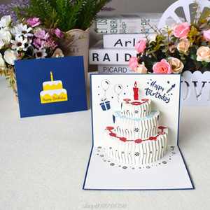 3D Pop Up Happy Birthday Greeting Cards Cake Postcards Invitations with Envelope for Kids Gifts D24 20 Dropshipping