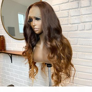 360 Lace Front Human Hair Wigs Peruvian Remy Hair Silk Top Full Lace Wigs Ombre Brown Blonde Pre Plucked Wig for Women