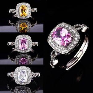 D Color Moissanite Diamond Ring Colorful Gemstone Engagement Wedding Open Ring For Women