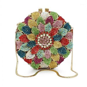 Hot Selling Wholesale -Multi Color Wing Shape Feather Crystal Clutch Evening Bag (88165a -C )1 l