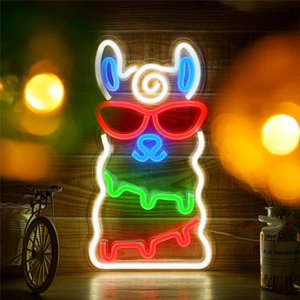 Alpaca Neon Signs USB for Led Neon Pub Cool Light Wall Art Bedroom Bar Decorations Home Accessories Party Holiday Custom Sign