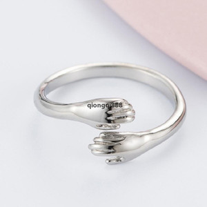 JH Love Hug Ring Retro Fashion Couple Tide Flow Open Band Rings Stainless Steel Adjustbale Vintage Finger Ring For Women Men Jewelry Gift