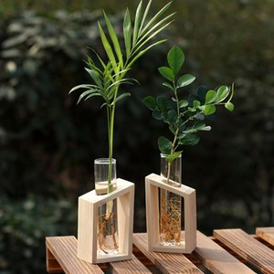 수경 식물에 대 한 나무 스탠드 꽃 냄비에 크리스탈 유리 테스트 튜브 꽃병 홈 정원 장식 507 r2