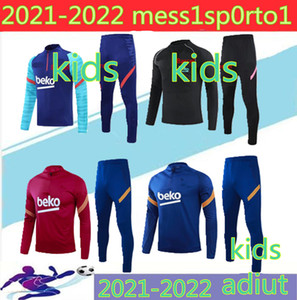 20 21 Kinder + Männer Fussball Jerseys Trainingsanzug Camiseta de Futbol Ansu Fati 2020 Messi Jacket Shirt Kit Traininganzug