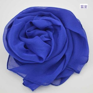New pure color real women's spring and summer sunscreen shawl feeling silk scarf long gauze beach towel
