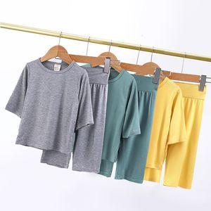2021 New Tales Summer Homewear Children Solid Clothing Baby Boys Girls Lougewear Half Sleeve Kids Pajamas Set 9 Colors 4u09
