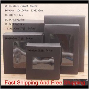 White Black Kraft Paper Box With Window Gift Box Cake Packaging Wedding Birthday Gift Package B qylnwI bbgargden