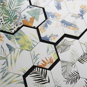 200 * 230mm plant pattern hexagonal tiles restaurant non slip Flooring flower tile