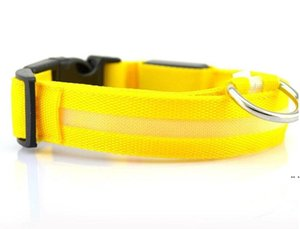 Nylon LED Pet Dog Collar,Night Safety Flashing Glow In The Dark Dog Leash,Dogs Luminous Fluorescent Collars Pet Supplies DHD5167