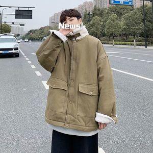 2021 Top quality Winter Thick Lamb Fur Jacket Men's Warm Fashion Cotton Solid Color Casual Men Short Coat Mens Clothes M-2xl ENOI