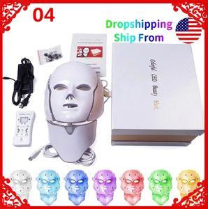 Gift box 7 color Led neck mask machine phototherapy acne treatment Korea photon treatment neck beauty USA warehouse