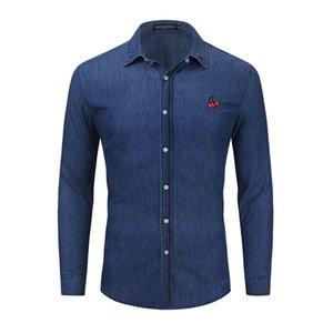 Homens Botão Down Denim Camisa Regular Fit Manga Longa Azul Casual Homens Camisas Casaco Casaco Mens Tops EUR Tamanho FM4007