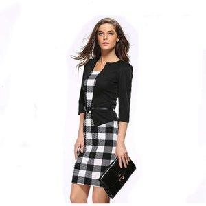 Black Slide Professional Pressing Slim False Два куска карандаш платье с длинным рукавом деловые костюмы рабочие платья юбка женская одежда падение доставки