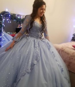 2021 Vintage Light Blue Quinceanera Dresses Long Sleeves Lace Appliques Crystal Beads Sweetheart Corset Back Plus Size Formal Party Prom Evening Gowns Floor Length