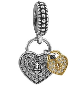 Love Locks Charm Bead Fit Pandora Bracelets CZ Pave Heart Dangle Charm ps2805