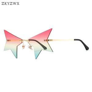 ZKYZWX New Personalized Prom Vintage Rimless Sunglasses Women Trending Sun Glass Luxury Design Street Shot Star Glasses for Men