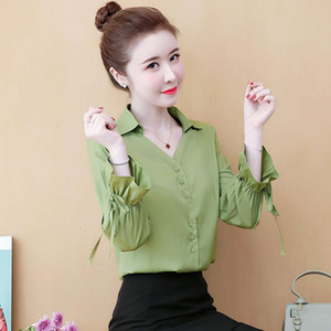 Chiffon shirt women's long spring dress 2021 new foreign super fairy fashion Korean style bottom Lantern sleeve Top