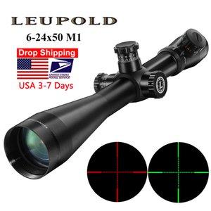 Leupold Mark 4 6-24x50 M1 Тактическая винтовка Примера охотничьи Оптика Объем Красного и зеленого точечного волокна сетки с длинным глазом рельефные винтовки