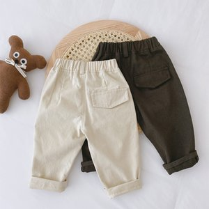 XZXY Korean Style INS Autumn Baby Kids Little Boys Pants Front Buttons Spring Elastic Wasit Trousers Summer Unisex Children Girls Trousers