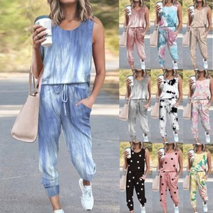 2021 New Fashion Tie Dye 2 Pieces Sets Sleeveless Womens Set Casual Two Piece Outfits for Women Pants and Top Clothes Tracksuit Lht7