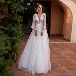 2021 Wedding Dress with Lantern Sleeves V Neck Bohemian Lace Tulle Bridal Dresses Sweep Train Back Zip Wedding Gown