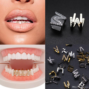 Gold & White Gold Iced Out A-Z Custom Letter Grillz Full Diamond Teeth DIY Fang Grills Cosplay Tooth Cap Hip Hop Dental Mouth Teeth Braces