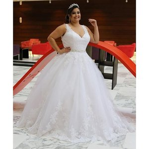 Plus Size Wedding Dresses V Neck Sleeveless Beading Belt Appliqued Lace Tulle A Line Corset Back Bridal Gowns Custom Size Robes De Mariee