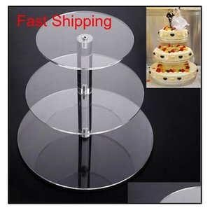 3 Tier Acrylic Round Cupcake Stand Transparent Cake Tower Rack Holder Pan Wedding Decoration Party Birthday Display Tool M9Qew Hwf68