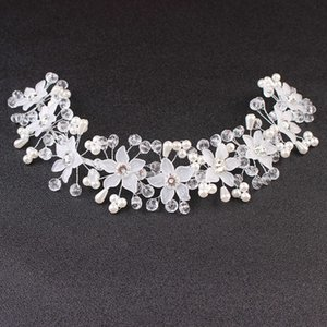 Korean headdress Handmade Flower bridal Jewelry Wedding Hair accessories crystal crown