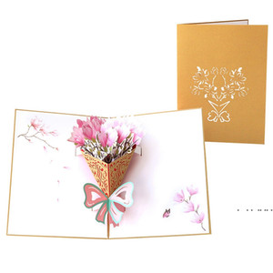 Mother's Day Card 3D Pop-Up Flowers Birthday Card Anniversary Gifts Postcard Mothers Father's Day Greeting Cards FWD5100