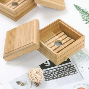 Bamboo Soap Box Dish Natural Wooden Soap Tray Holder Storage Soap Rack Plate Box Container for Bath Shower Plate Bathroom AHB5309