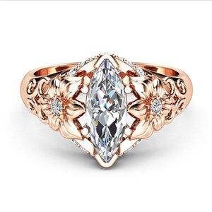 Anelli di cristallo del fiore cavo per le donne Esecuzione dell'occhio di cavallo trasparente zircone Anelli di colore dell'oro della rosa dei monili dei monili dei monili dei gioielli Antillos
