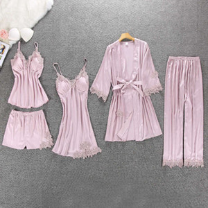 Women's 5 4 2 1 Pieces of Satin Nightwear Pajamas Side-by-side Sliding Home Clothing Boarding Bed Lounge Pyjamas with Breast Pads
