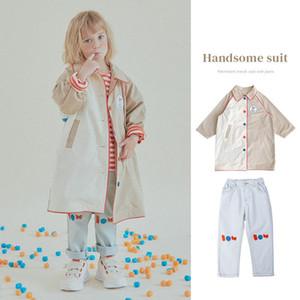 Coat Autumn Boys' And Girls' Windbreaker Korean Single Breasted Trendy Cotton Lapel Contrast Letter Pasted Khaki Long 2021
