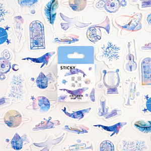 3Pieces Lot 45pcs box Blue Star Ocean Decorative Adhesive Tape Masking Tape For Stickers Scrapbooking DIY Stationery Tape