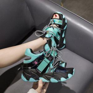 Frauen Chunky Platform Sandalen 10 cm Super High Heels Casual Schuhe Britische Stil Designer Frau Wedge Mode Sandale Damen 2020 86AC #