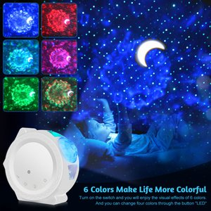 6 cores oceano acenando luz stary sky projetor levou nebulosa nuvem noite luz 360 graus rotação luz noite luz para crianças da c0305