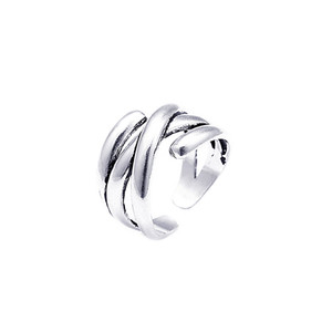 2021 Fashion 925 Sterling Silver Multi-Layer Cord for Braiding Ring Simple Fashion Design Geometric Square Line Woven Rings for Men